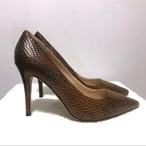 White House/Black Market brown snake skin heels